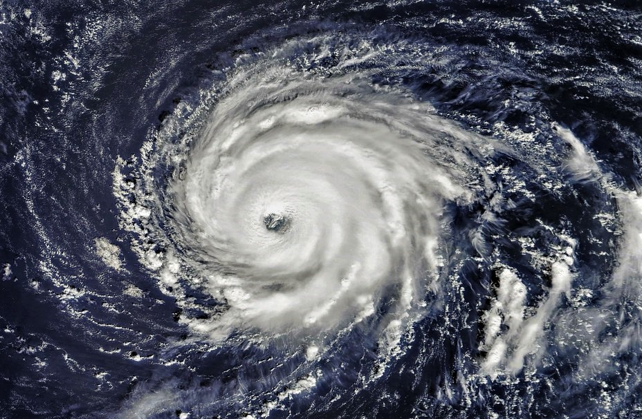 A satellite image of a hurricane over the ocean.