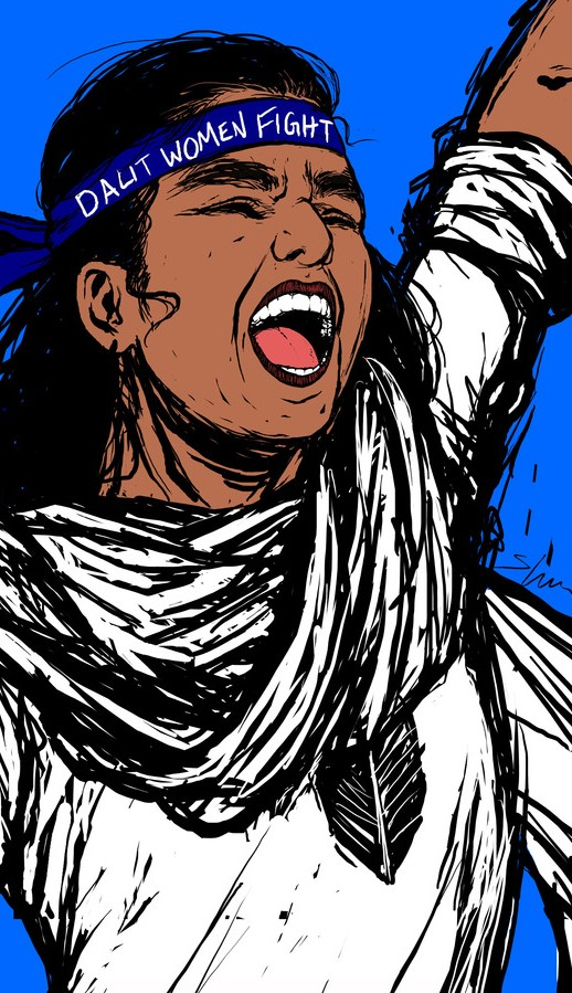 "A woman in white, yelling with a fist raised in a blue background. She wears a blue band around her head saying, ""Dalit women fight."""