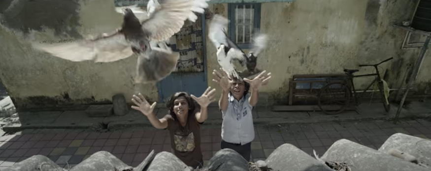Two boys stand, arms outstretched, releasing two pigeons into the air.