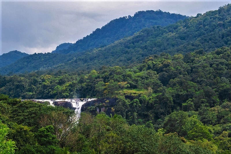 Photograph of the top of the Athirappilly waterfalls, surrounded by forested hilltops.