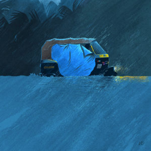 sketch of an auto wading through floodwaters, as the rain lashes down. A dim headlight glows from it, and the silhouette of a driver can be seen through a part of the tarpaulin sheet that has been put up on the side of the auto to keep rainwater out.