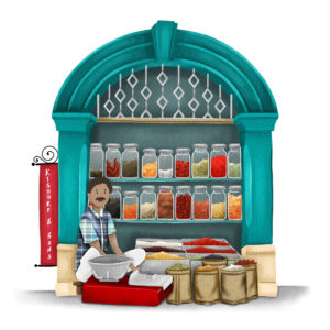 A sketch of a spice seller sitting outside his shop. Glss jars with many spices on display. The man sits in front on the floor, other gunny bag around him