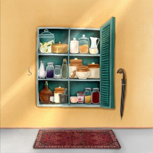A spice cabinet on a wall with its door open, and many jars and boxed inside. An umbrella hangs from a nail on the right, a red carpet on the floor in front