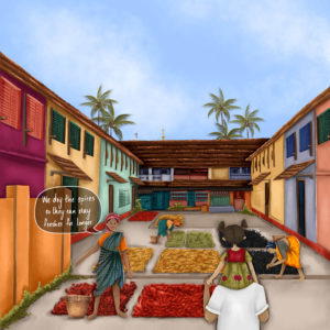"""A sketch of colourful houses around a courtyard on which spices are being dried. Annie sits on Appoppan's shoulder facing the courtyard, away from the camera. A woman faces them and says """"We dry the spices so they can stay fresh for longer"""""""