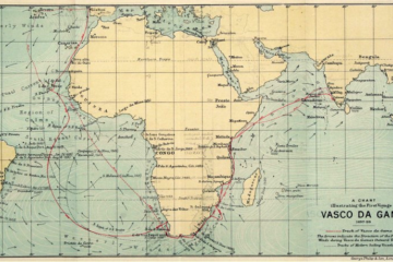 A world map with routes that Vasco da Gama took, marked out